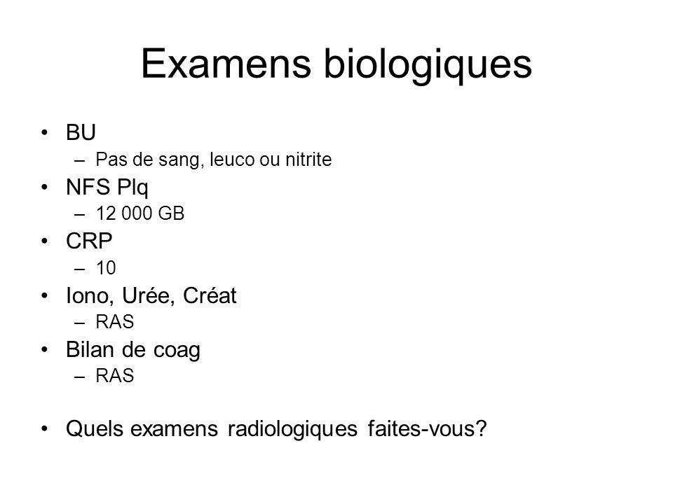 Examens biologiques BU NFS Plq CRP Iono, Urée, Créat Bilan de coag
