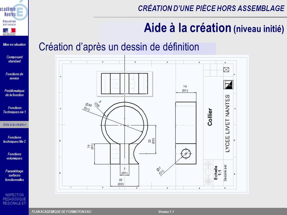 Aide à la création (niveau initié)
