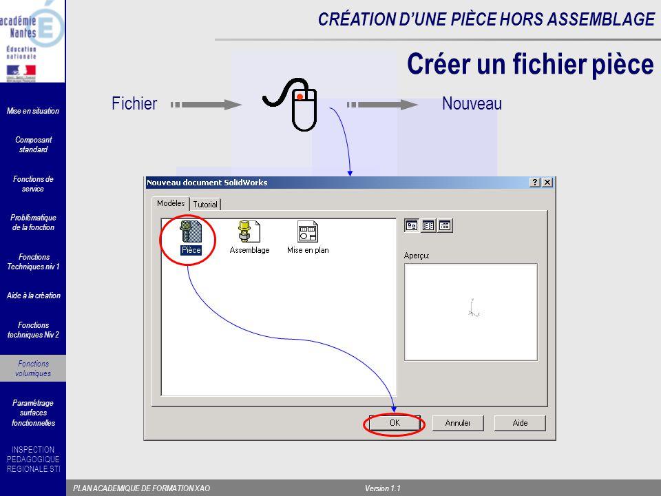 Créer un fichier pièce Fichier Nouveau