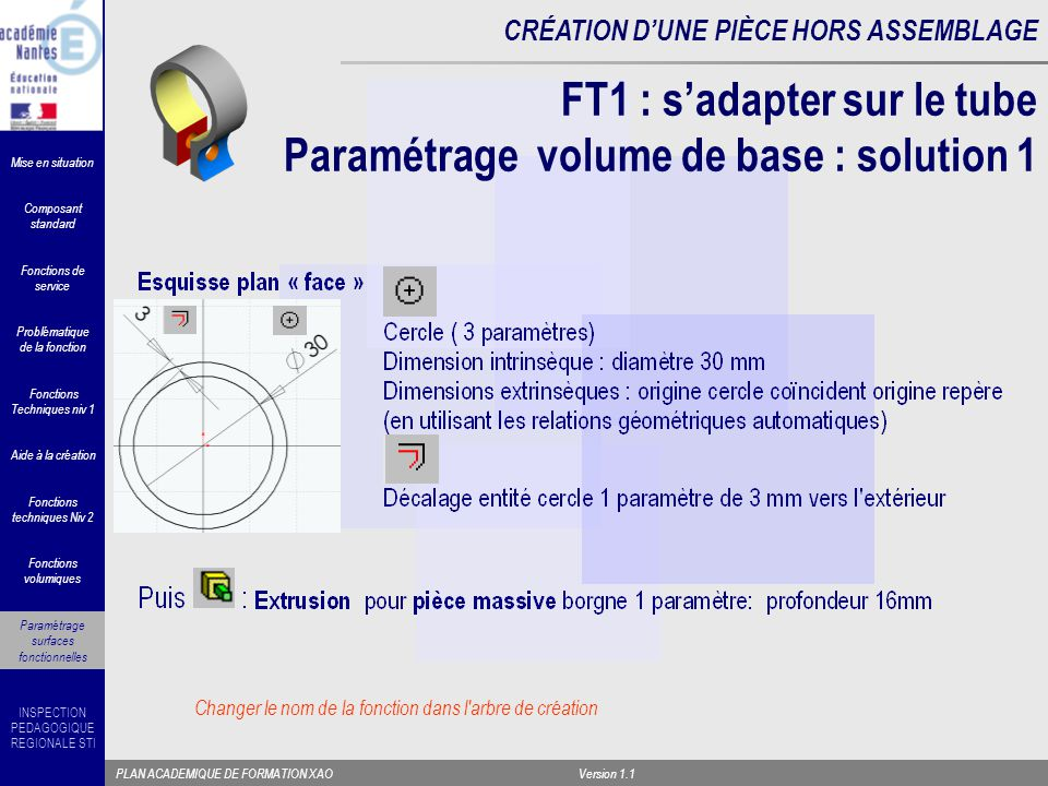 FT1 : s'adapter sur le tube Paramétrage volume de base : solution 1