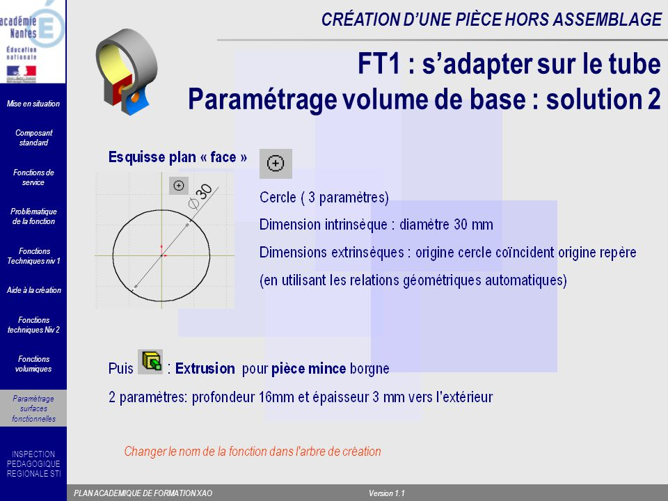 FT1 : s'adapter sur le tube Paramétrage volume de base : solution 2