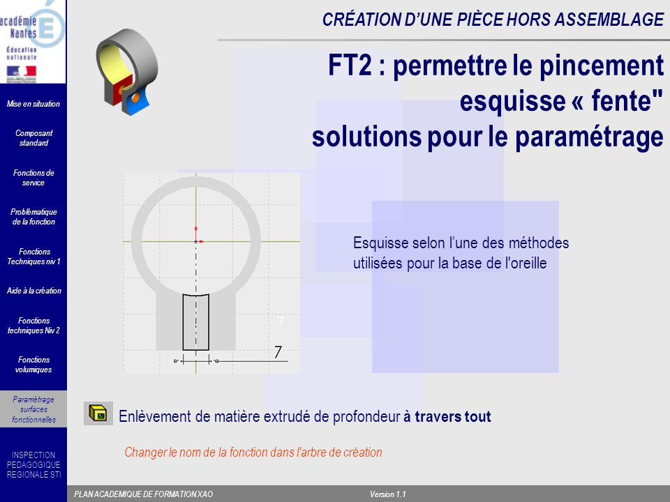 FT2 : permettre le pincement esquisse « fente solutions pour le paramétrage