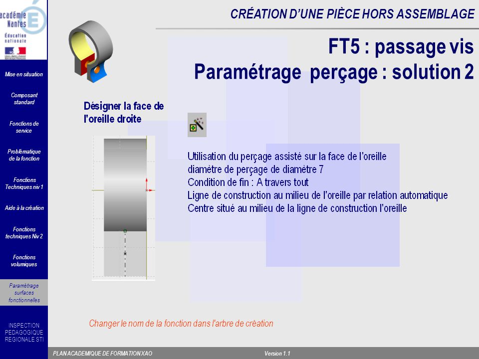 FT5 : passage vis Paramétrage perçage : solution 2