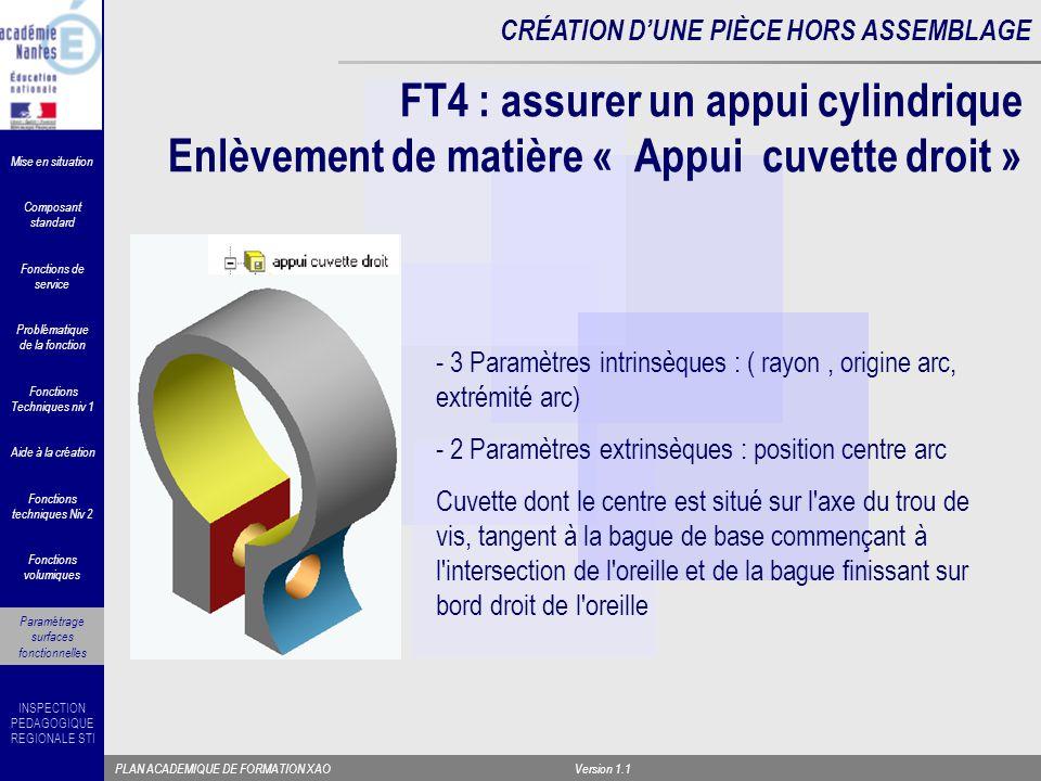 FT4 : assurer un appui cylindrique Enlèvement de matière « Appui cuvette droit »