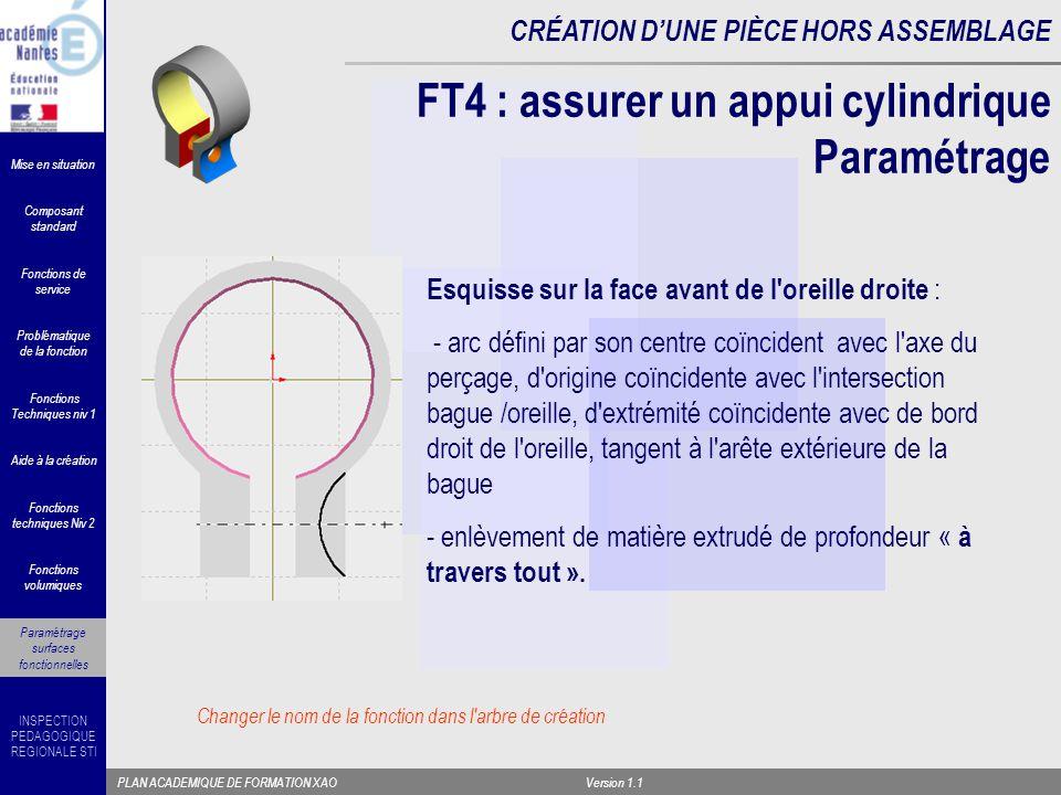 FT4 : assurer un appui cylindrique Paramétrage