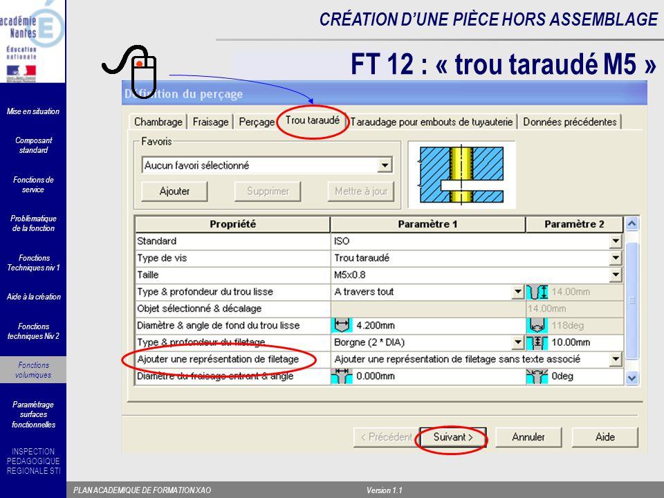 FT 12 : « trou taraudé M5 » Fonctions Techniques niv 1. Composant standard. Fonctions techniques Niv 2.