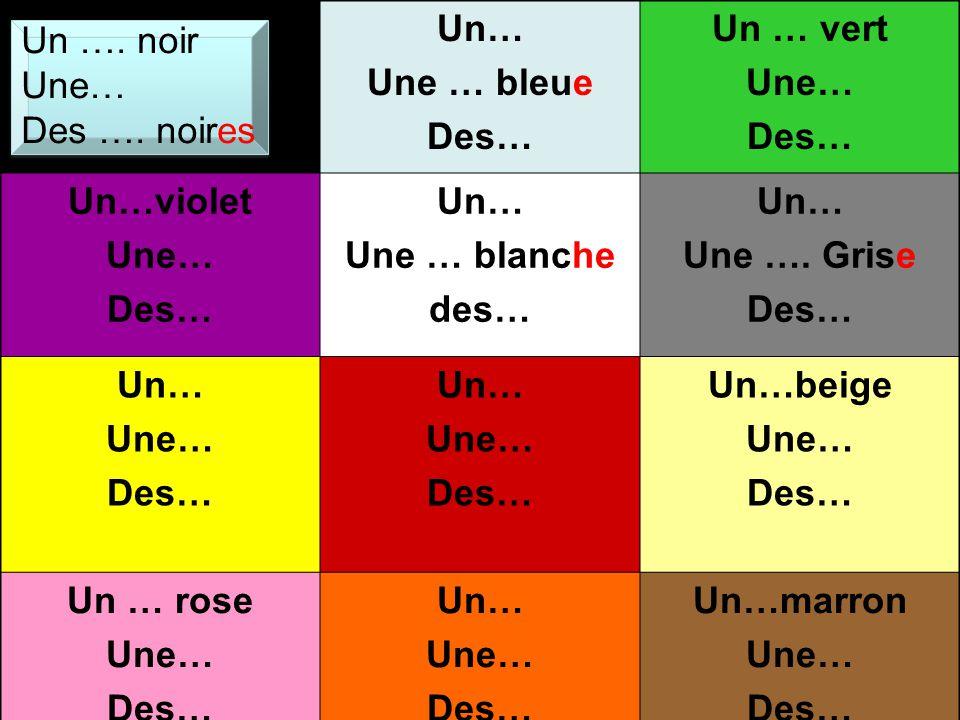 Un… Une … bleue. Des… Un … vert. Une… Un…violet. Une … blanche. des… Une …. Grise. Un…beige.