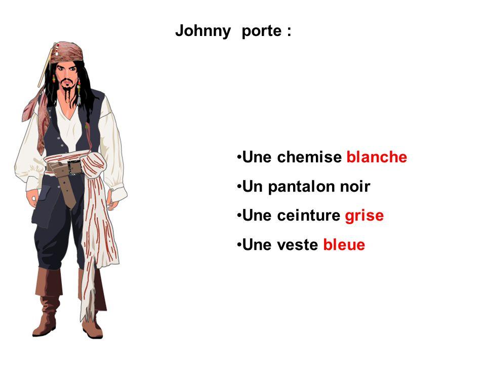 Johnny porte : Une chemise blanche Un pantalon noir Une ceinture grise Une veste bleue