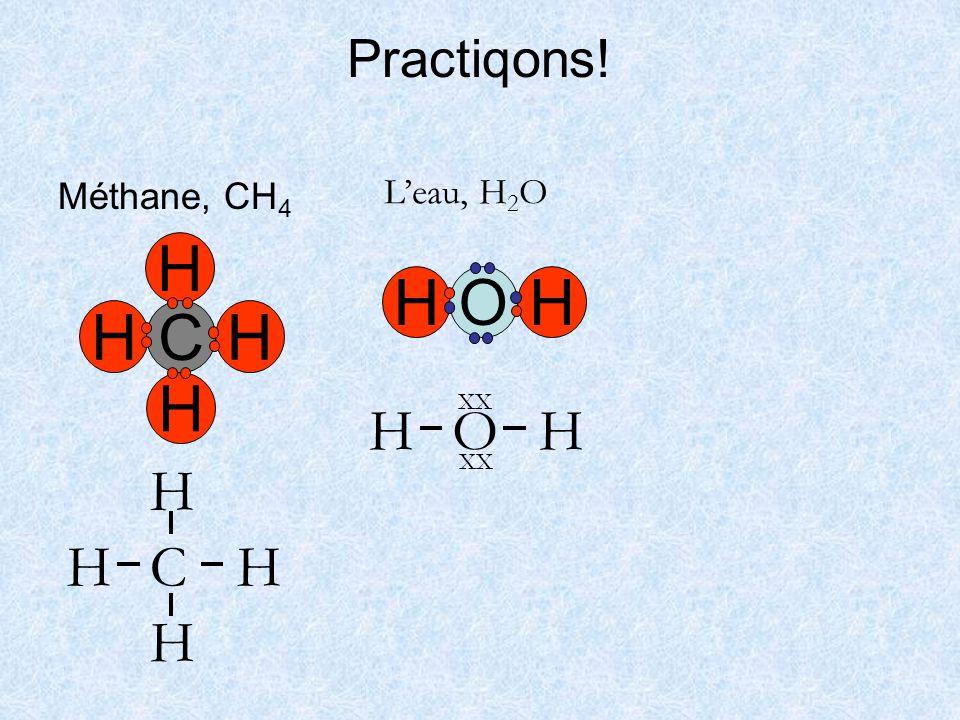 Practiqons! Méthane, CH4 L'eau, H2O H C H O O H XX C H