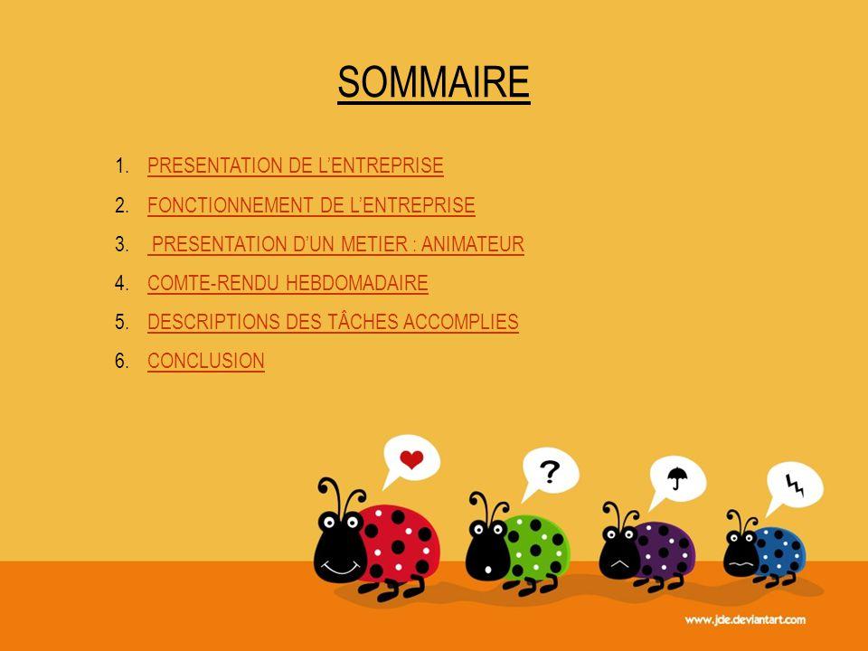 SOMMAIRE PRESENTATION DE L'ENTREPRISE FONCTIONNEMENT DE L'ENTREPRISE