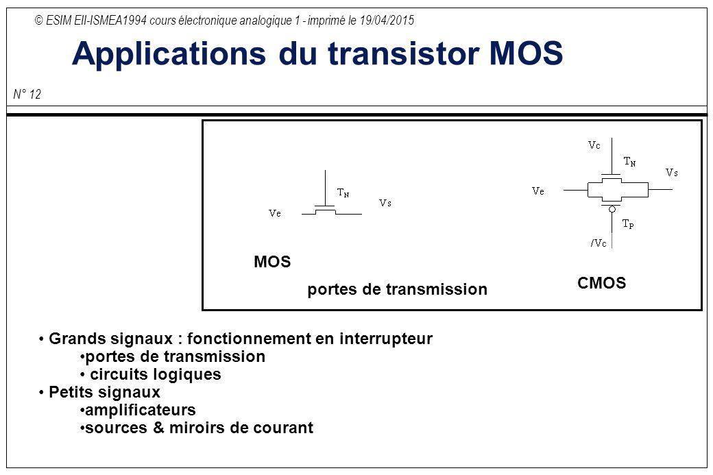 S ance 2 transistor bipolaire suite transistors effet for Transistor porte logique