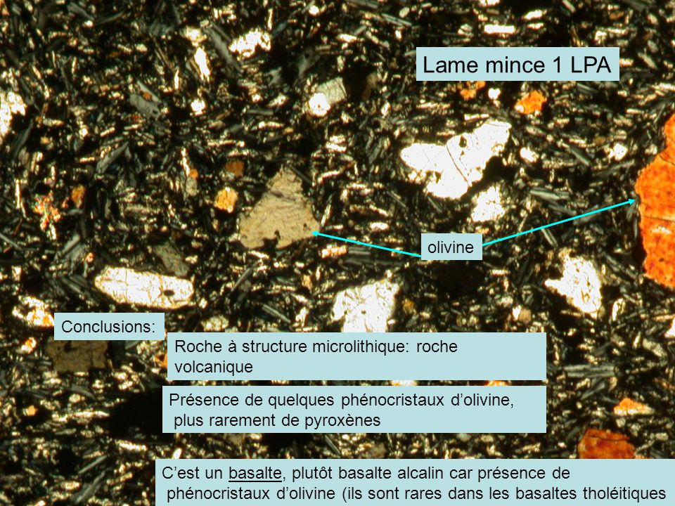 Lame mince 1 LPA olivine Conclusions: