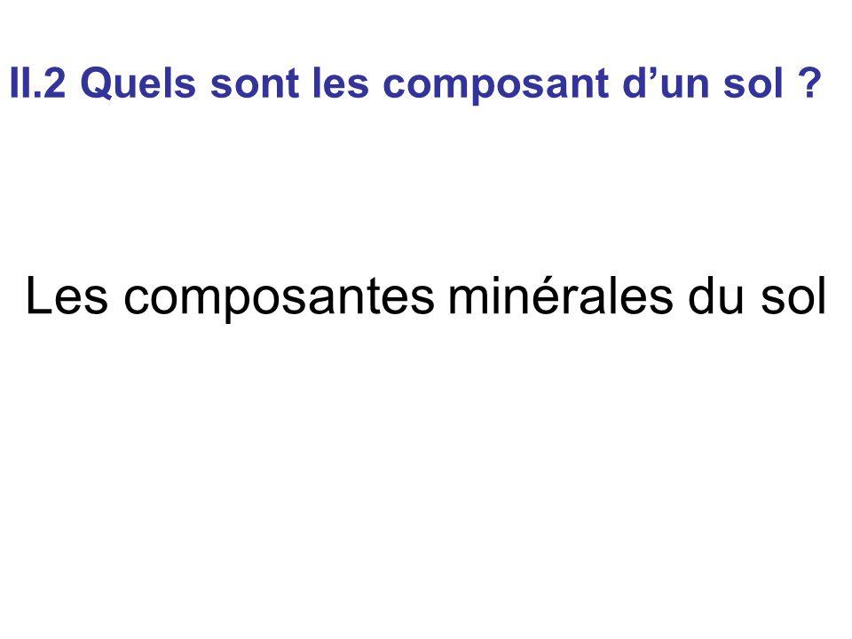 Les composantes minérales du sol