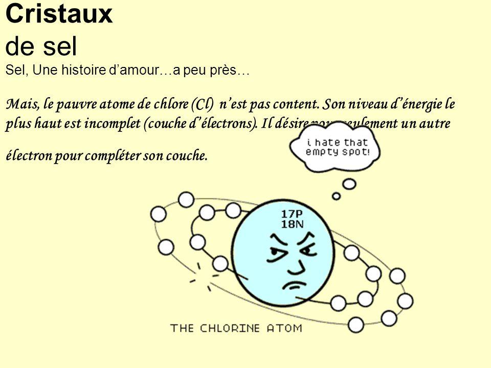 Cristaux de sel Sel, Une histoire d'amour…a peu près… Mais, le pauvre atome de chlore (Cl) n'est pas content.