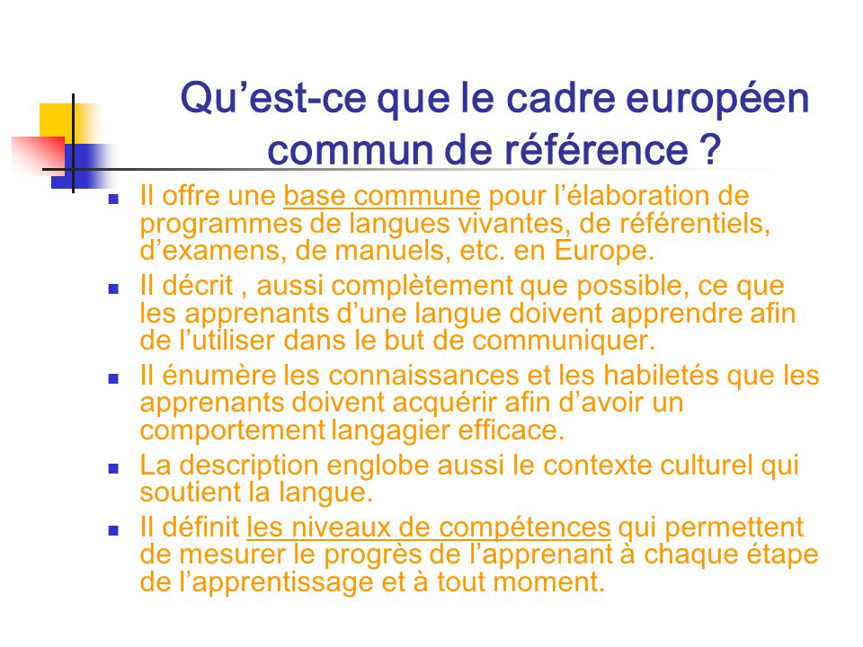un cadre europ u00e9en commun de r u00e9f u00e9rence pour les langues