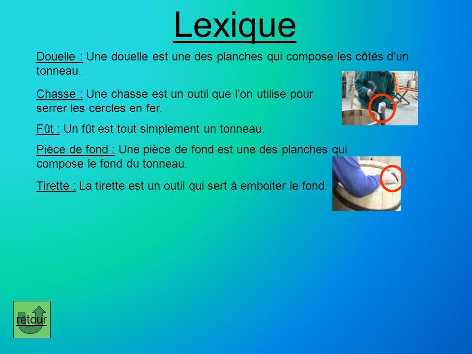 Lexique Douelle : Une douelle est une des planches qui compose les côtés d'un tonneau.