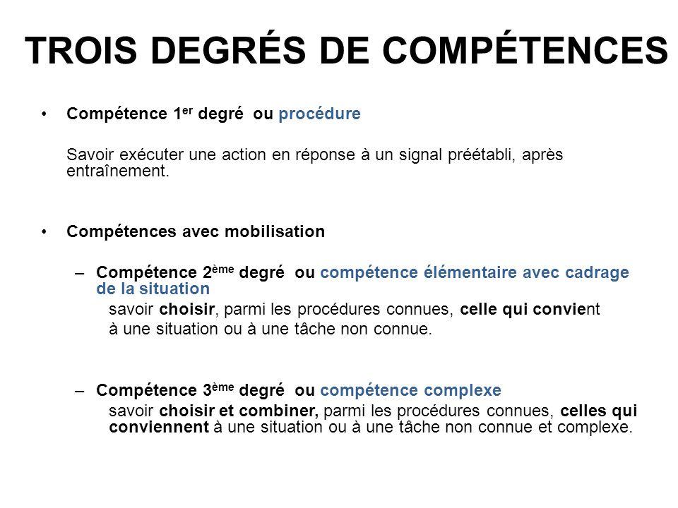 Trois degrés de compétences