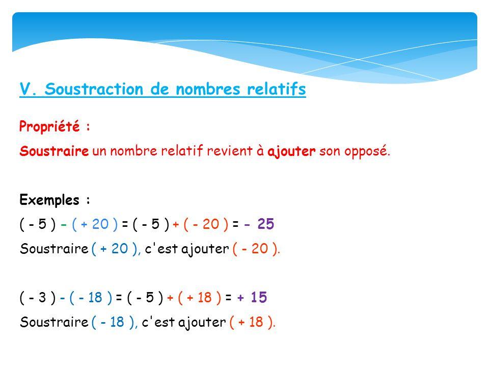 V. Soustraction de nombres relatifs
