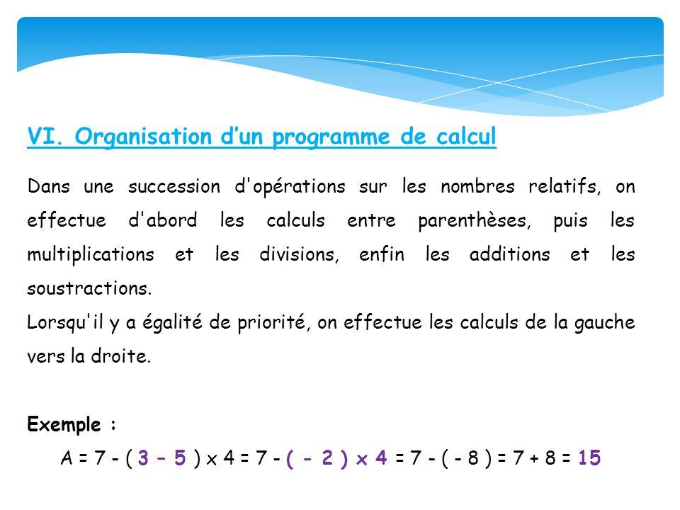 A = 7 - ( 3 – 5 ) x 4 = 7 - ( - 2 ) x 4 = 7 - ( - 8 ) = 7 + 8 = 15