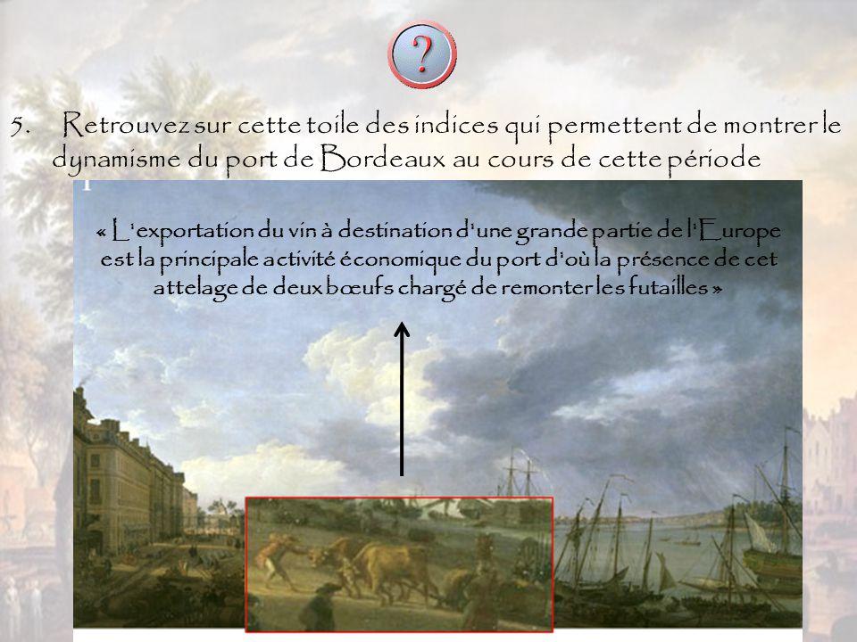 5. Retrouvez sur cette toile des indices qui permettent de montrer le dynamisme du port de Bordeaux au cours de cette période