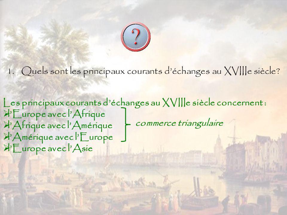 Quels sont les principaux courants d'échanges au XVIIIe siècle