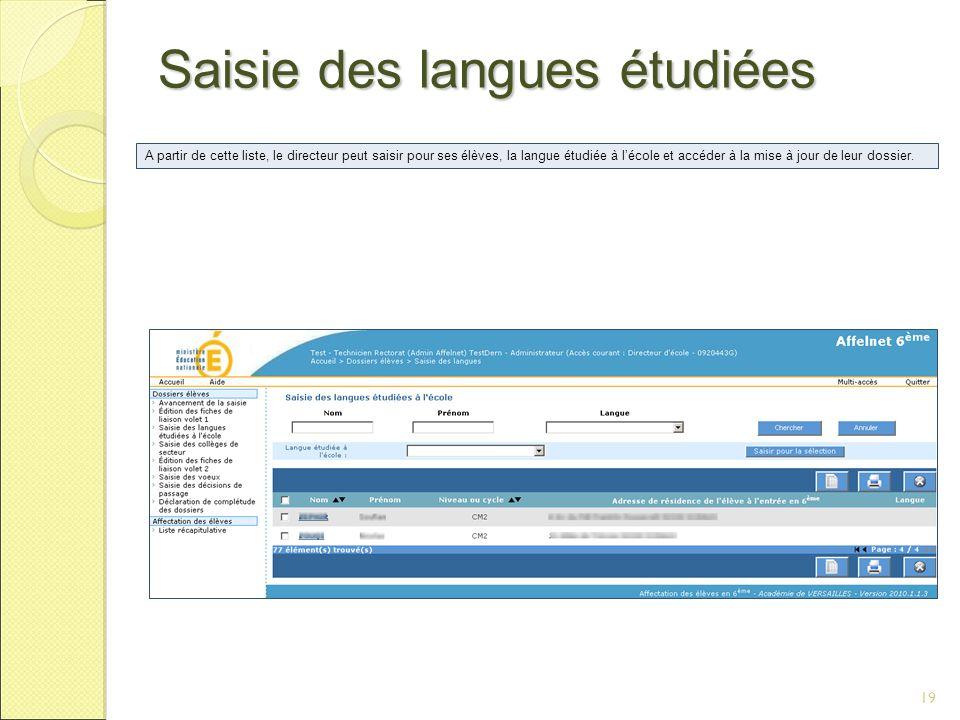 Saisie des langues étudiées