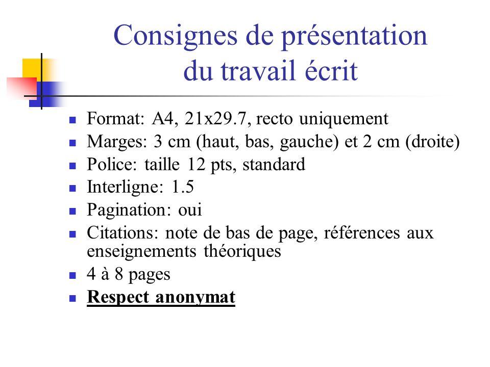 Consignes de présentation du travail écrit