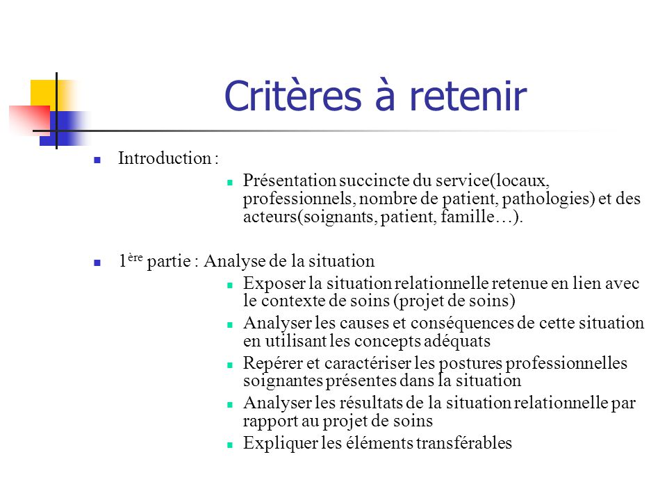 Critères à retenir Introduction :