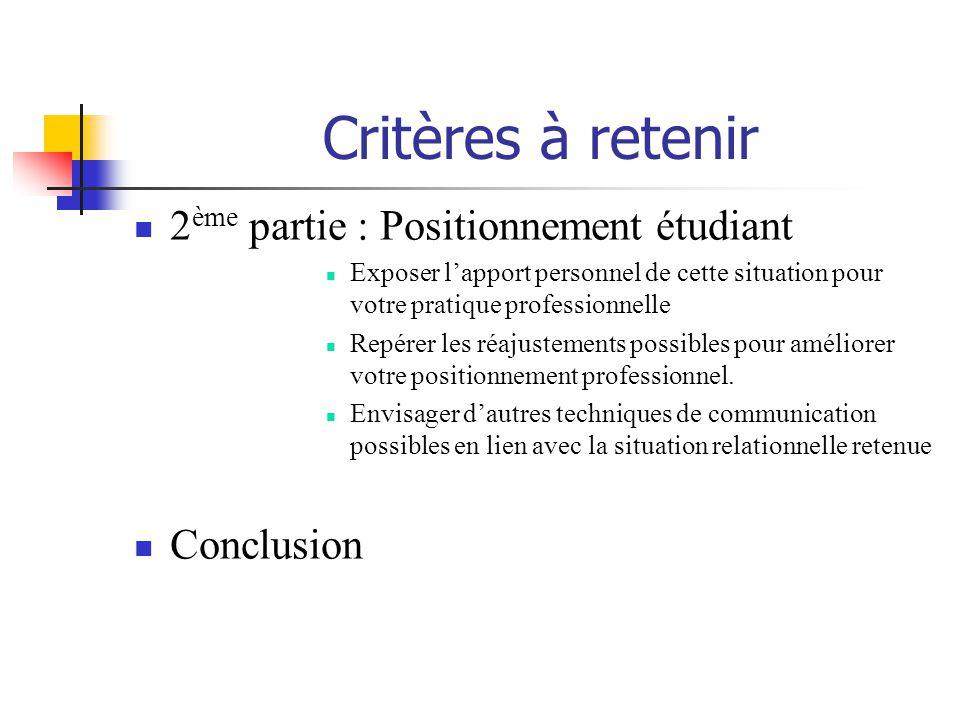Critères à retenir 2ème partie : Positionnement étudiant Conclusion