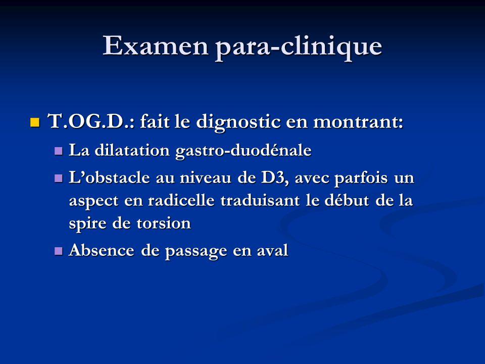 Examen para-clinique T.OG.D.: fait le dignostic en montrant: