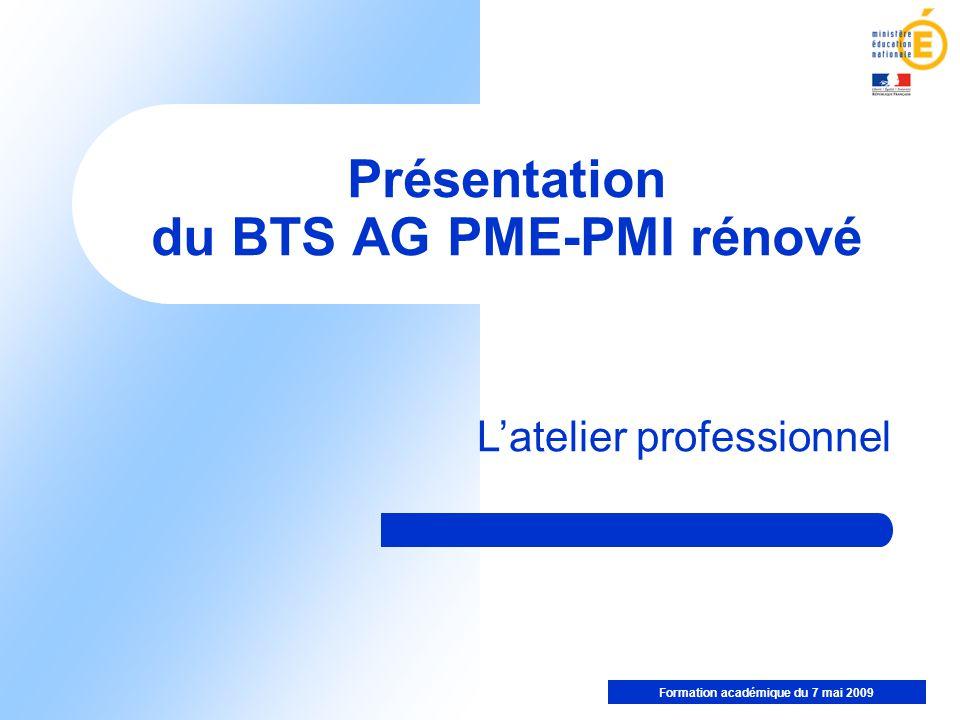 Présentation du BTS AG PME-PMI rénové
