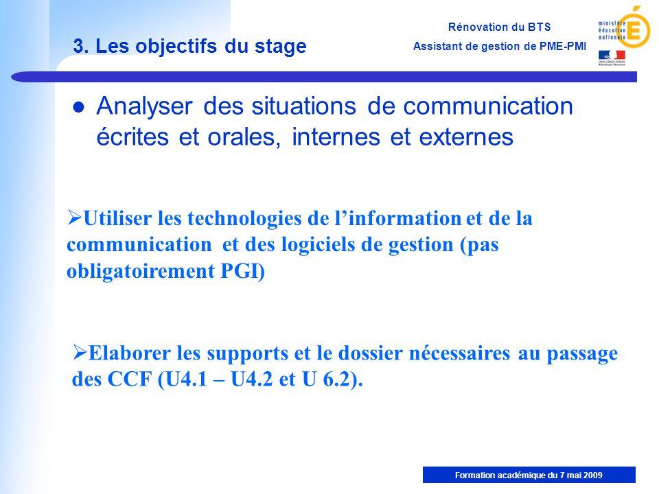 3. Les objectifs du stage Analyser des situations de communication écrites et orales, internes et externes.
