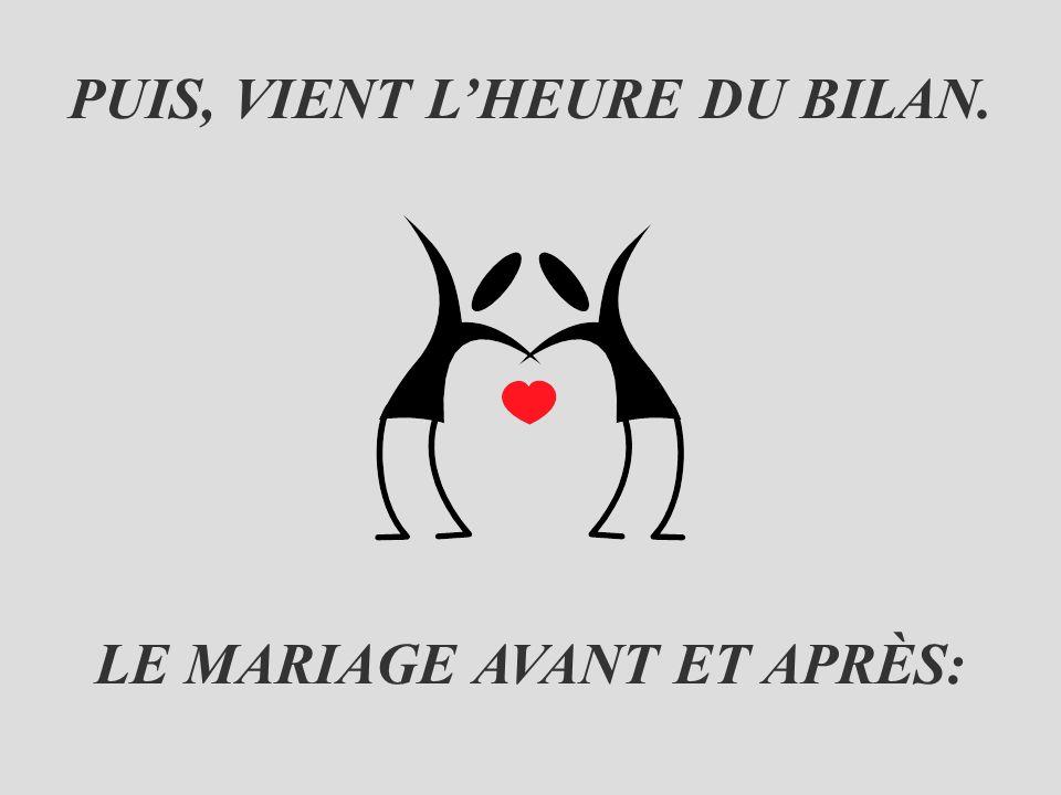 PUIS, VIENT L'HEURE DU BILAN. LE MARIAGE AVANT ET APRÈS: