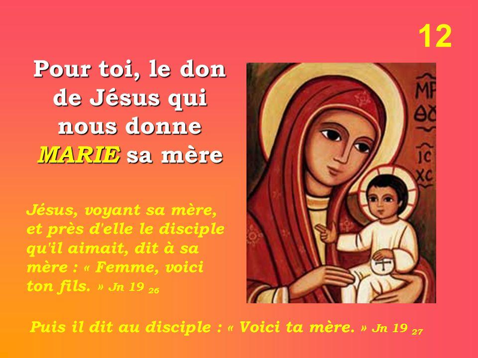 Pour toi, le don de Jésus qui nous donne MARIE sa mère