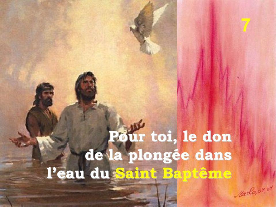7 Pour toi, le don de la plongée dans l'eau du Saint Baptême