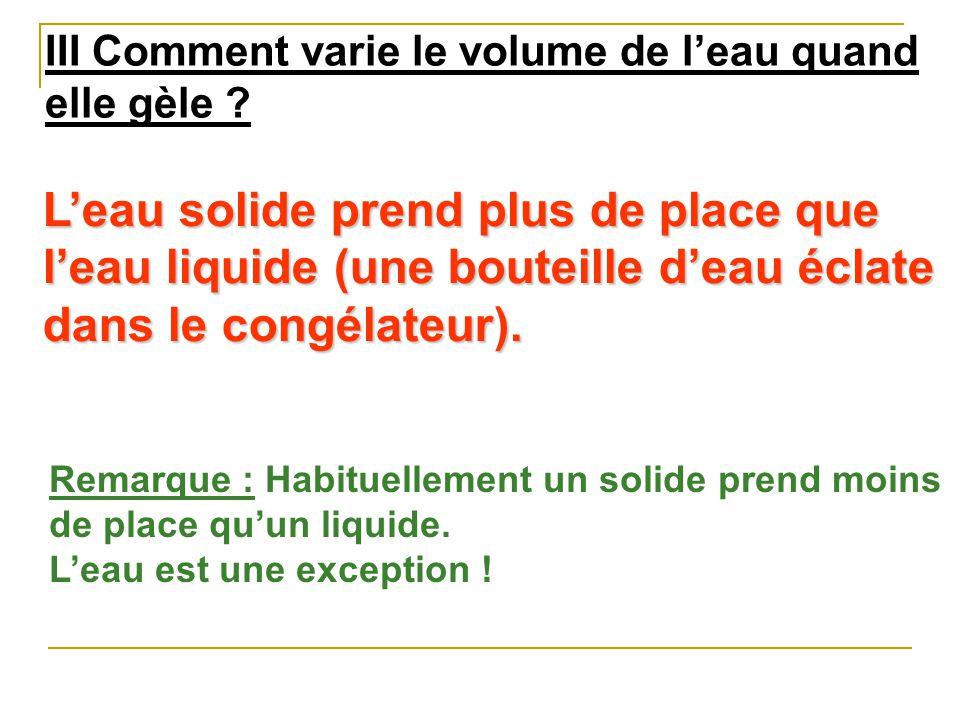 III Comment varie le volume de l'eau quand elle gèle
