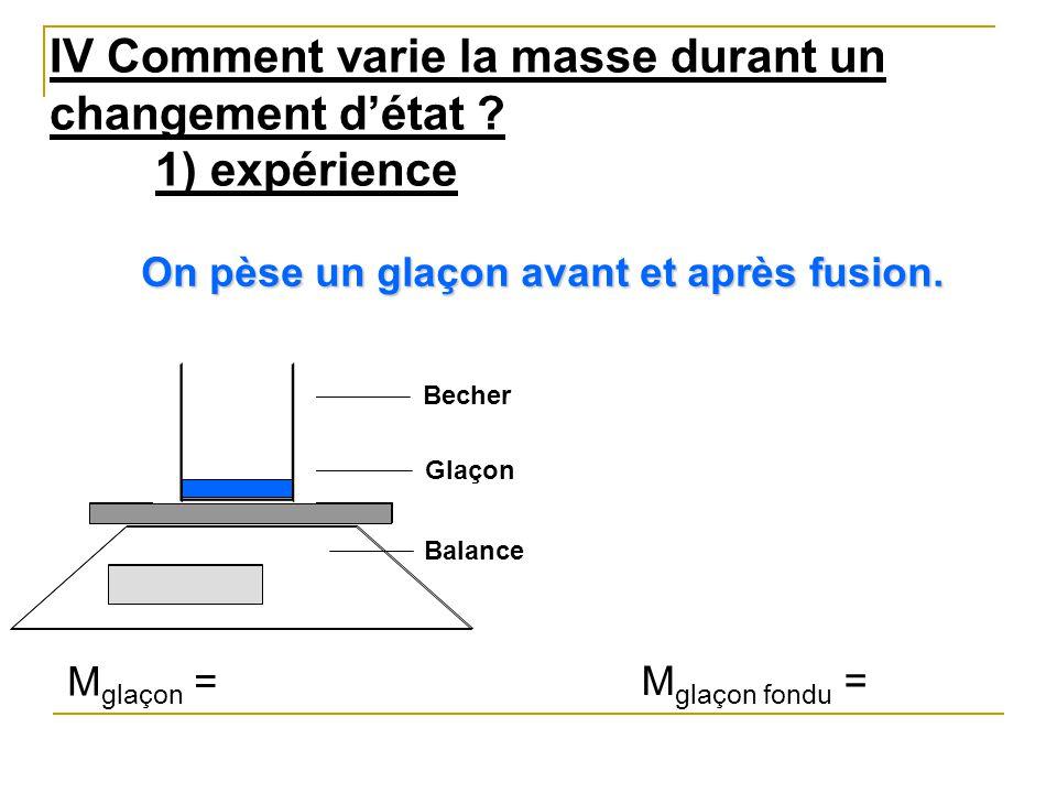 IV Comment varie la masse durant un changement d'état 1) expérience