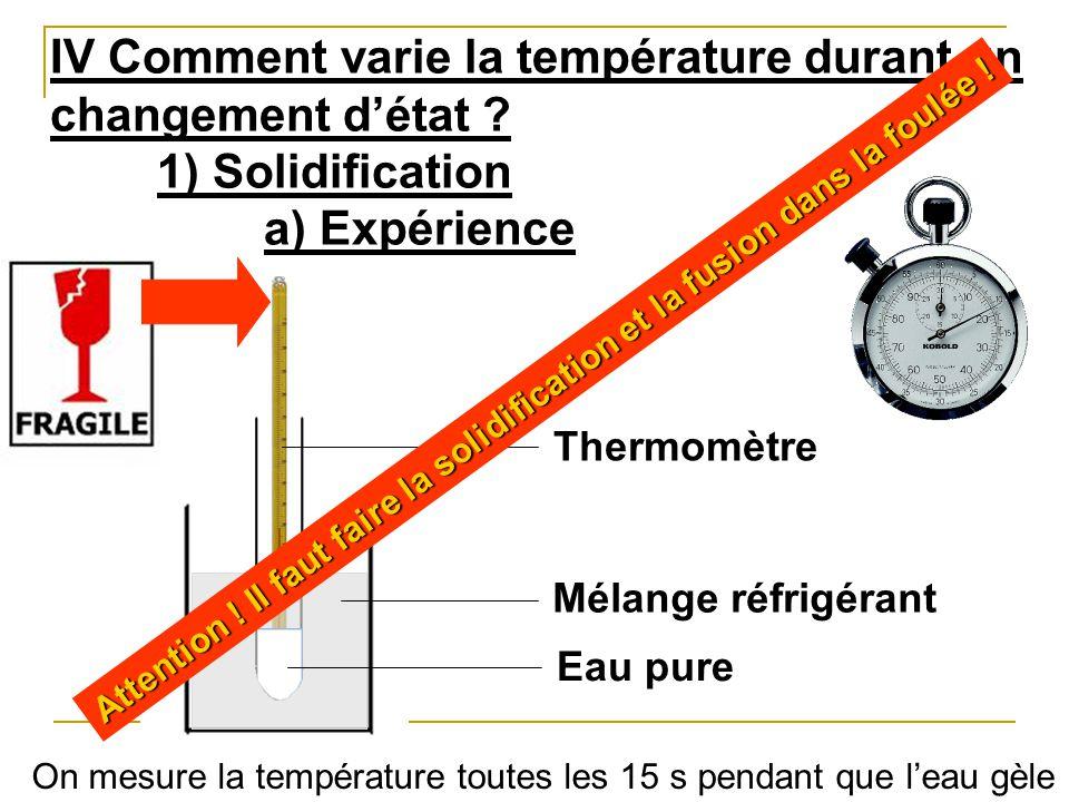 IV Comment varie la température durant un changement d'état
