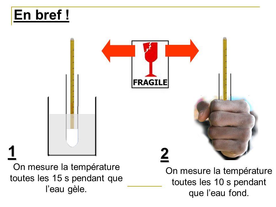 En bref . 1. 2. On mesure la température toutes les 15 s pendant que l'eau gèle.