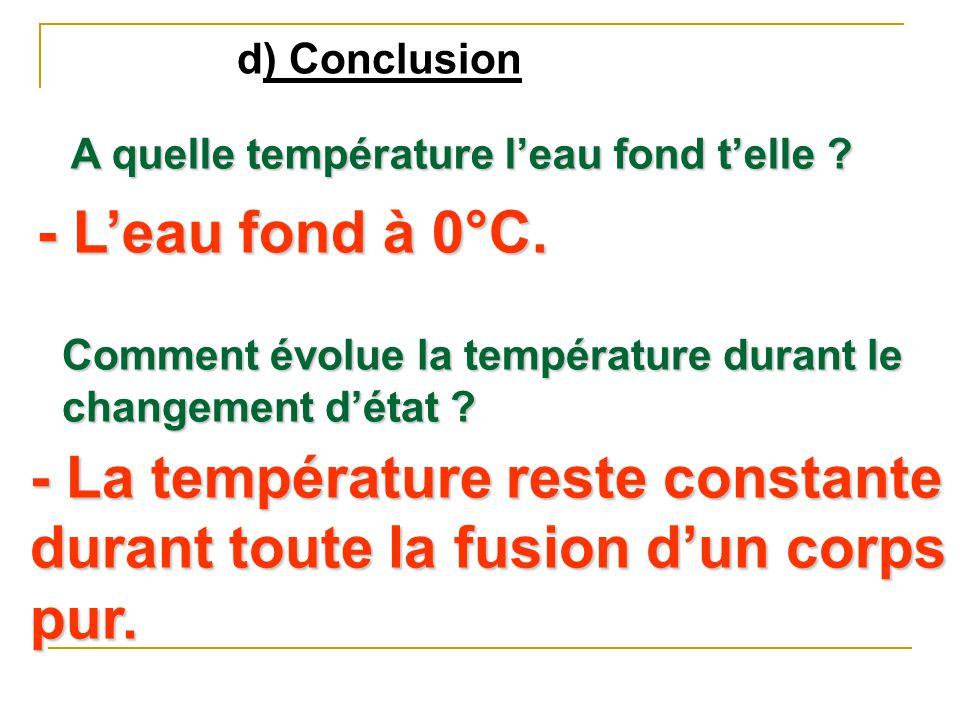 d) Conclusion A quelle température l'eau fond t'elle - L'eau fond à 0°C. Comment évolue la température durant le changement d'état