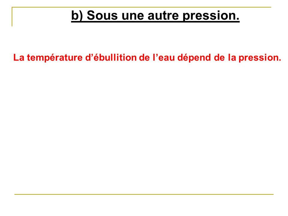b) Sous une autre pression.