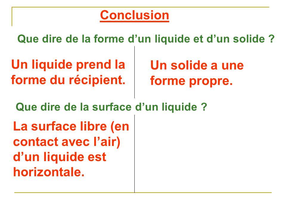 Un liquide prend la forme du récipient. Un solide a une forme propre.