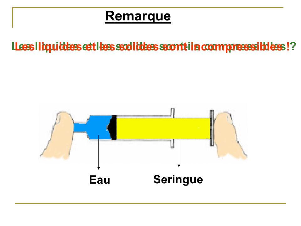 Remarque Les liquides et les solides sont-ils compressibles