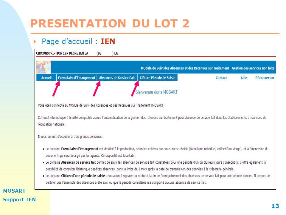 PRESENTATION DU LOT 2 13/04/2017 Page d'accueil : IEN