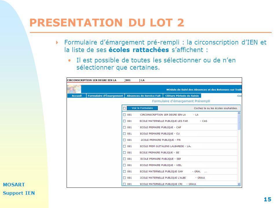 PRESENTATION DU LOT 2 Formulaire d'émargement pré-rempli : la circonscription d'IEN et la liste de ses écoles rattachées s'affichent :