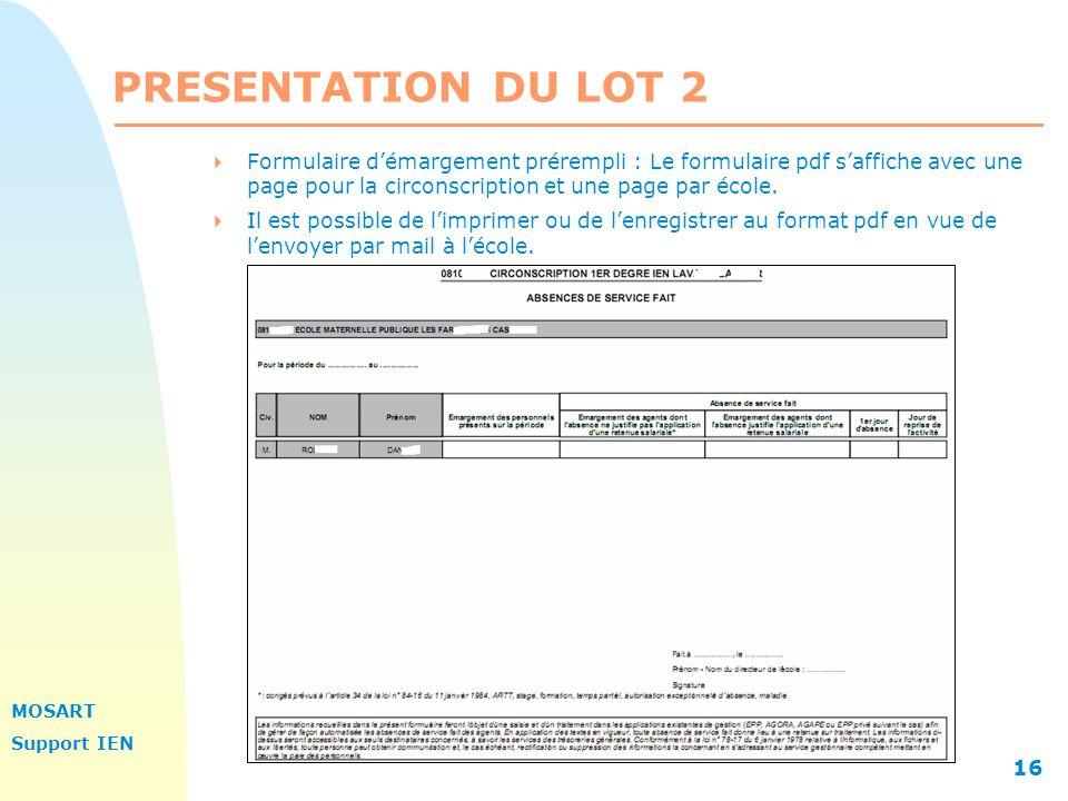 PRESENTATION DU LOT 2 Formulaire d'émargement prérempli : Le formulaire pdf s'affiche avec une page pour la circonscription et une page par école.