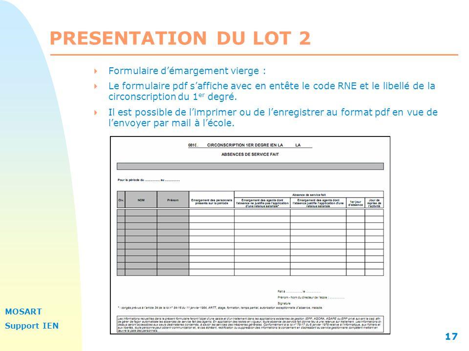 PRESENTATION DU LOT 2 Formulaire d'émargement vierge :