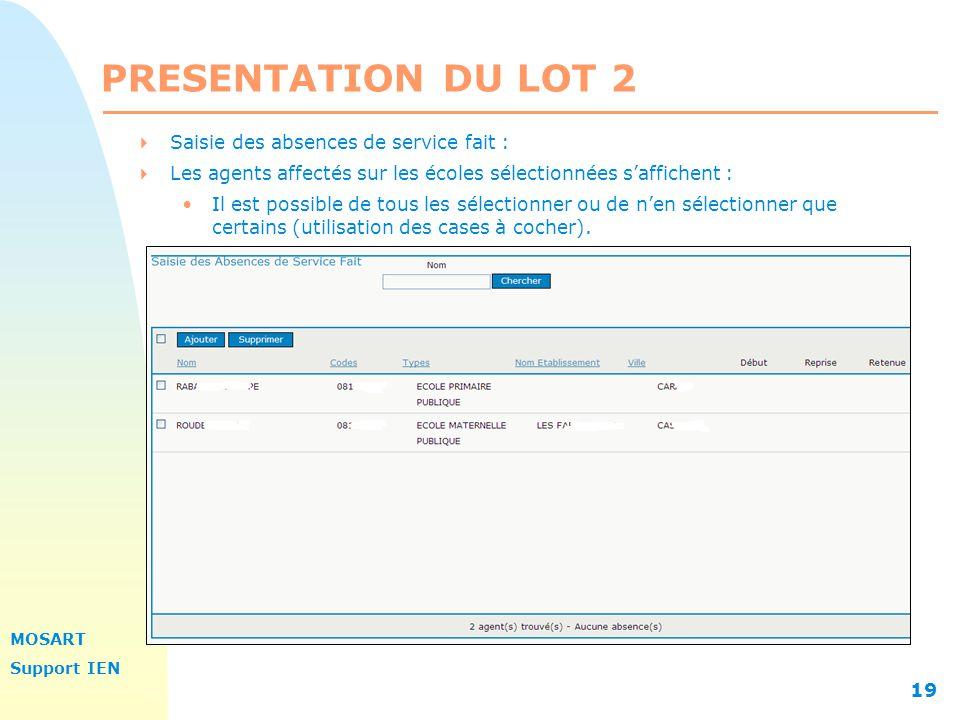 PRESENTATION DU LOT 2 Saisie des absences de service fait :