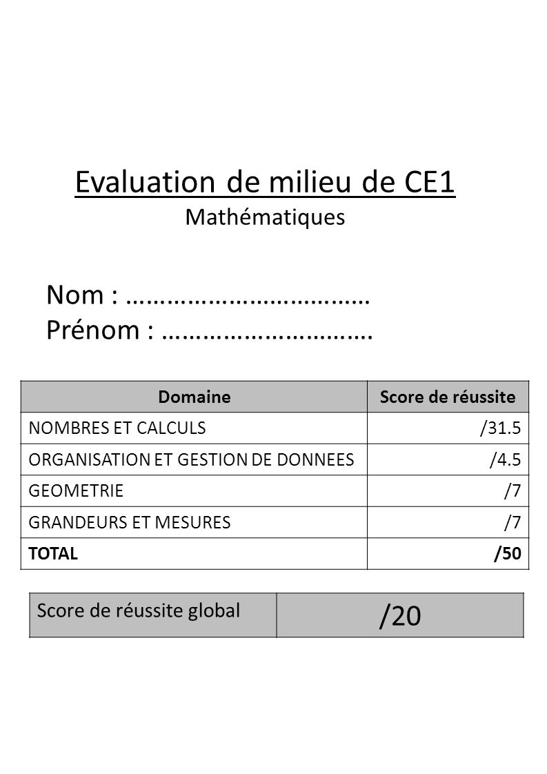 Evaluation de milieu de CE1 Mathématiques