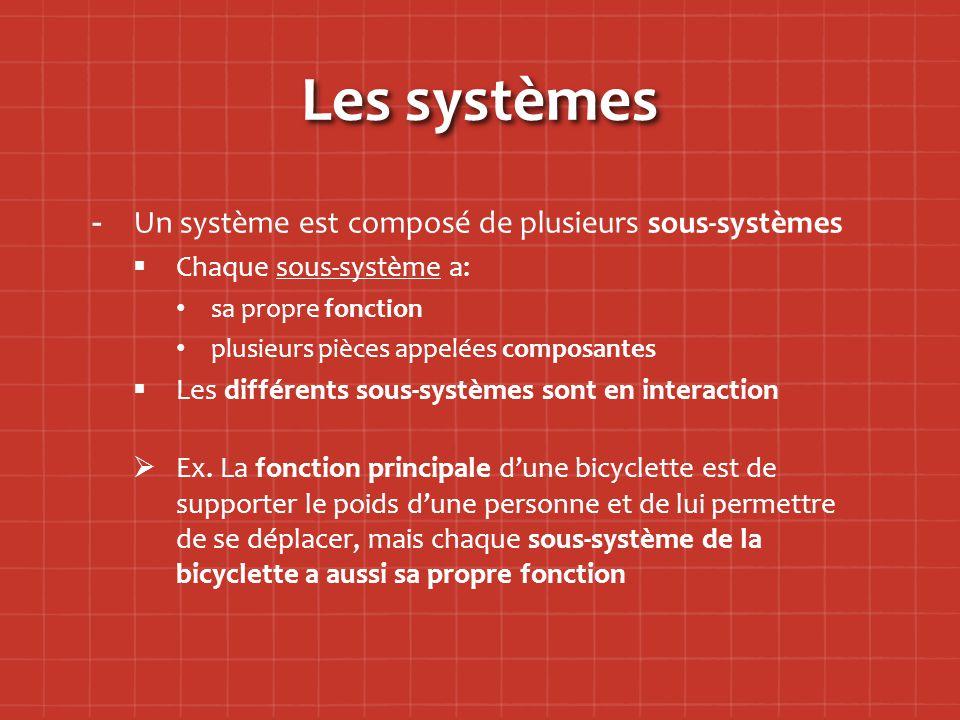 Les systèmes Un système est composé de plusieurs sous-systèmes